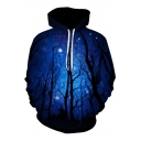 New Stylish Digital Galaxy Forest Pattern Long Sleeve Casual Hoodie