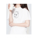 Summer's Cartoon Milk Pattern Round Neck Leisure Short Sleeve T-Shirt
