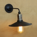Industrial Wall Sconce with Conical Shade, Black