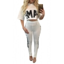 Casual Leisure Letter Printed Cropped Hoodie with Skinny Sports Pants