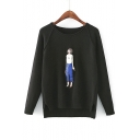 New Arrival Chic Cartoon Girl Printed Dipped Hem Round Neck Long Sleeve Sweater