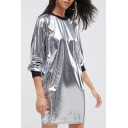 New Arrival Fashion Metallic Silver Color Block Round Neck Long Sleeve Mini Dress