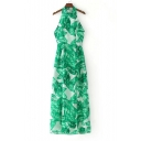 Sexy Halter Straps Back Sleeveless Leaves Printed Maxi A-Line Dress