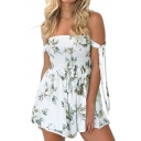 Summer's New Trendy Sexy Off The Shoulder Tied Sleeve Floral Print Rompers