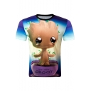 New Stylish Digital Cartoon Woodsprites Pattern Short Sleeve Sports T-Shirt