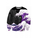Color Block Sea Wave Printed Long Sleeve Round Neck Pullover Sweatshirt