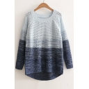 New Arrival Color Block Round Neck Long Sleeve Fashion Hollow Out Sweater