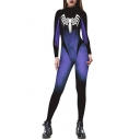 Fashion Spider Printed Color Block Long Sleeve Round Neck Skinny Jumpsuits
