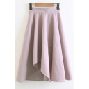 New Arrival Chic Simple Plain Elastic Waist Pleated Midi Asymmetrical Skirt