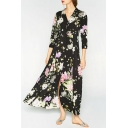 Fashion Floral Printed Lapel 3/4 Length Sleeve Button Down Maxi Shirt Dress