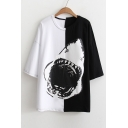Shark Pattern Chic Color Block Round Neck Half Sleeve Loose T-Shirt