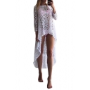 New Arrival High Low Hem 3/4 Length Sleeve Plain Lace Cover Up
