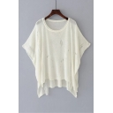 Fashion Ripped Hollow Out Dipped Hem Round Neck Batwing Sleeve Plain Sweater