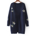 Embroidery Floral Pattern Open Front Long Sleeve Tunic Cardigan