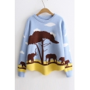 Color Block Wild Elephant Pattern Long Sleeve Round Neck Pullover Sweater