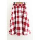 Vintage Plaids Pattern High Rise Elastic Waist Midi A-Line Skirt