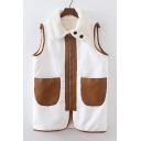 New Arrival Fashion Suede Patched Lapel Collar Sleeveless Color Block Zip Up Vest Coat