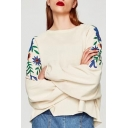 Embroidery Floral Raglan Long Sleeve Round Neck Pullover Sweatshirt