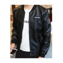 Men's Letter Appliqued Stand Up Collar Zip Fly PU Biker Jacket