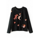 Embroidery Bird Floral Pattern Round Neck Long Sleeve Pullover Sweater