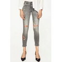 Women's Floral Printed Cutout Knees Gray Skinny Jeans