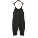 Spaghetti Straps Simple Plain Knit Loose Casual Tapered Overall Jumpsuits