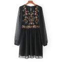 Fashion Floral Embroidered Round Neck Long Sleeve Mini Smock Dress