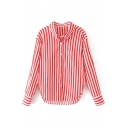 Striped Pattern Lapel Collar Long Sleeve Buttons Down Shirt with Single Pocket