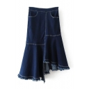 New Stylish Asymmetric Fringe Hem Plain Denim Skirt