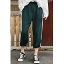 Fashion Basic Striped Side Elastic Waist Closed Cuff Loose Sports Pants