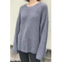 New Arrival Fashion Bow Tied Cuff Long Sleeve Round Neck Plain Sweater