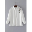 Fashion Floral Embroidered Shoulder Long Sleeve Buttons Down Shirt