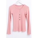 V Neck Long Sleeve Buttons Down Front Simple Plain Pullover Sweater