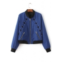 Fashion Grommet Lace-Up Stand Up Collar Long Sleeve Zip Up Jacket