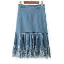 New Trendy Fashion Tassel Hem Simple Plain Midi A-Line Denim Skirt