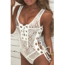 Sexy Sheer Lace Inserted Grommet Lace-Up Scoop Neck Sleeveless Plain Bodysuit