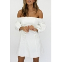 Sexy Off The Shoulder Long Sleeve Grommet Lace-Up Plain Mini A-Line Dress