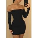 Crisscross Open Back Off The Shoulder Long Sleeve Plain Mini Bodycon Dress