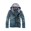 New Arrival Retro Detachable Hooded Long Sleeve Zip Up Denim Coat