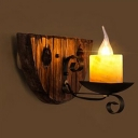 Industrial Mini Wall Lamp with Wooden Lamp Base, in Black Finished