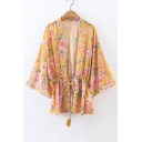 Summer's Floral Printed Elastic Drawstring Waist Sun Protection Kimono Top