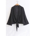 Sexy Open Front Tied Hem Polka Dots Color Block Long Sleeve Blouse