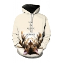 3D Cat Letter Pattern Long Sleeve Casual Leisure Hoodie with Pockets