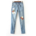 Fashion Embroidery Floral Skinny Jeans