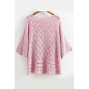 New Fashion Diamond Hollow Out Round Neck 3/4 Sleeve Casual Loose Sweater