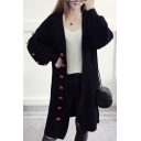New Stylish Contrast Buttons Embellished Long Sleeve Plain Cardigan
