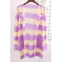 Fashion Color Block Striped Long Sleeve Open Front Tunic Cardigan