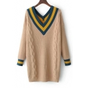 Fashion Double V Neck Color Block Striped Pattern Long Sleeve Tunic Sweater