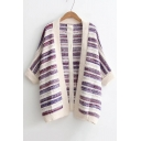 New Trendy Color Block Striped Pattern Open Front Cardigan