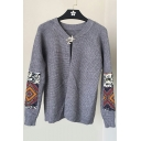 New Trendy Tribal Printed Long Sleeve Round Neck Comfort Cardigan